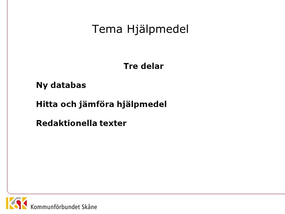 Tema Hjälpmedel Tre delar Ny databas Hitta och jämföra hjälpmedel