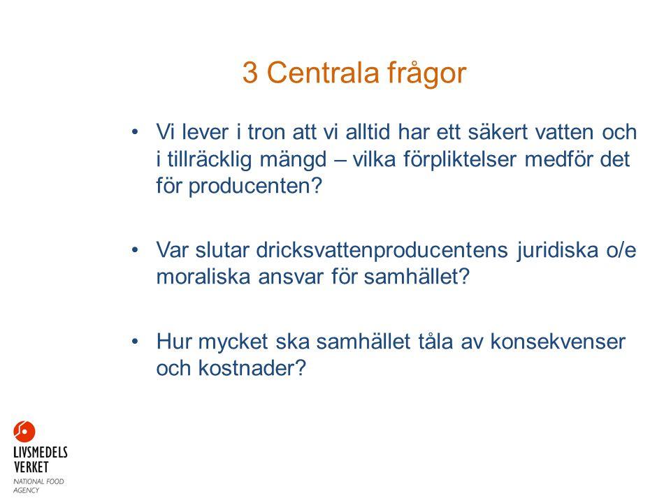 3 Centrala frågor Vi lever i tron att vi alltid har ett säkert vatten och i tillräcklig mängd – vilka förpliktelser medför det för producenten
