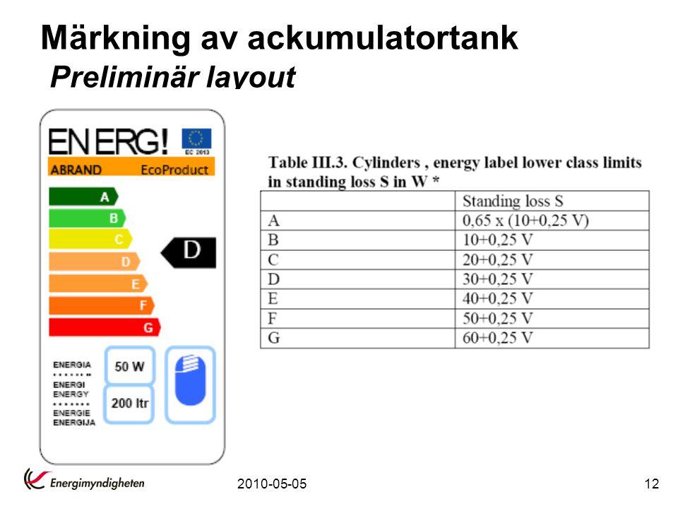 Märkning av ackumulatortank Preliminär layout
