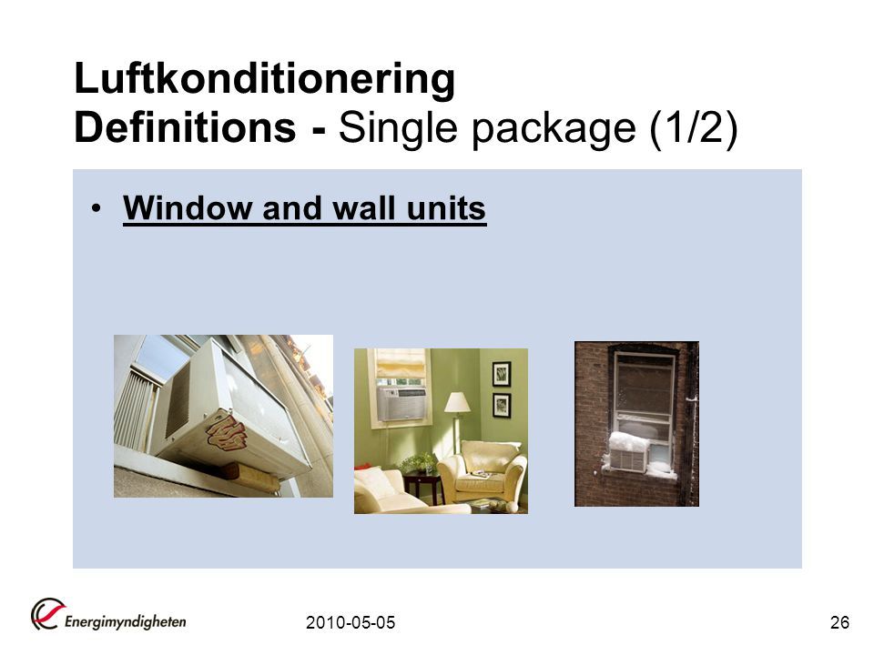 Luftkonditionering Definitions - Single package (1/2)