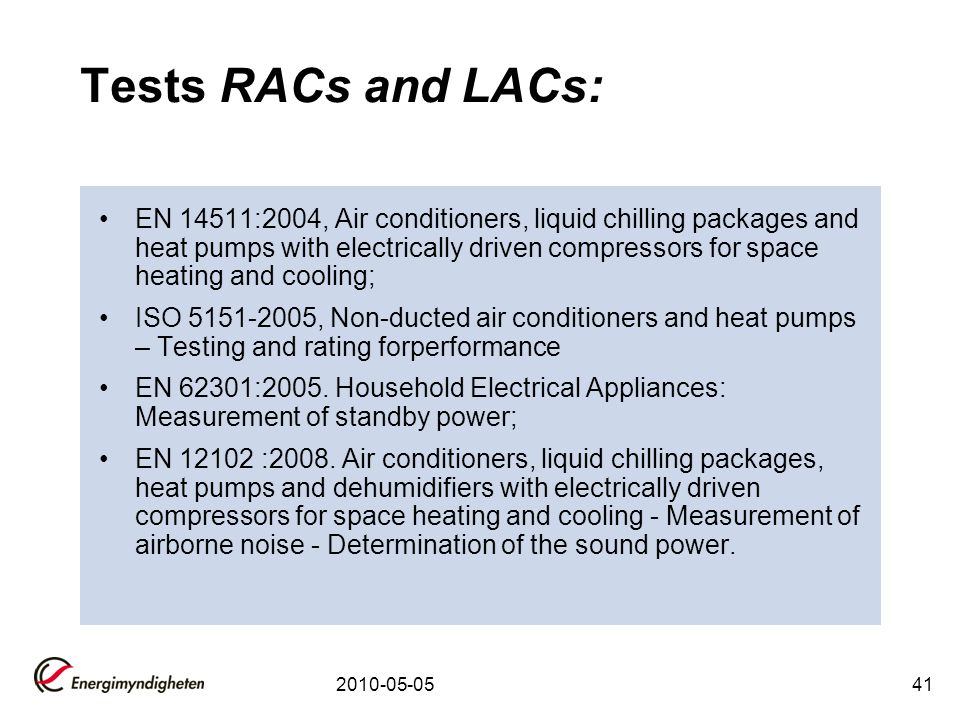 Tests RACs and LACs: