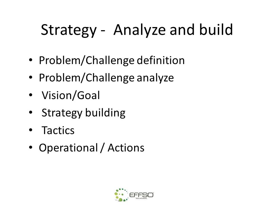 Strategy - Analyze and build