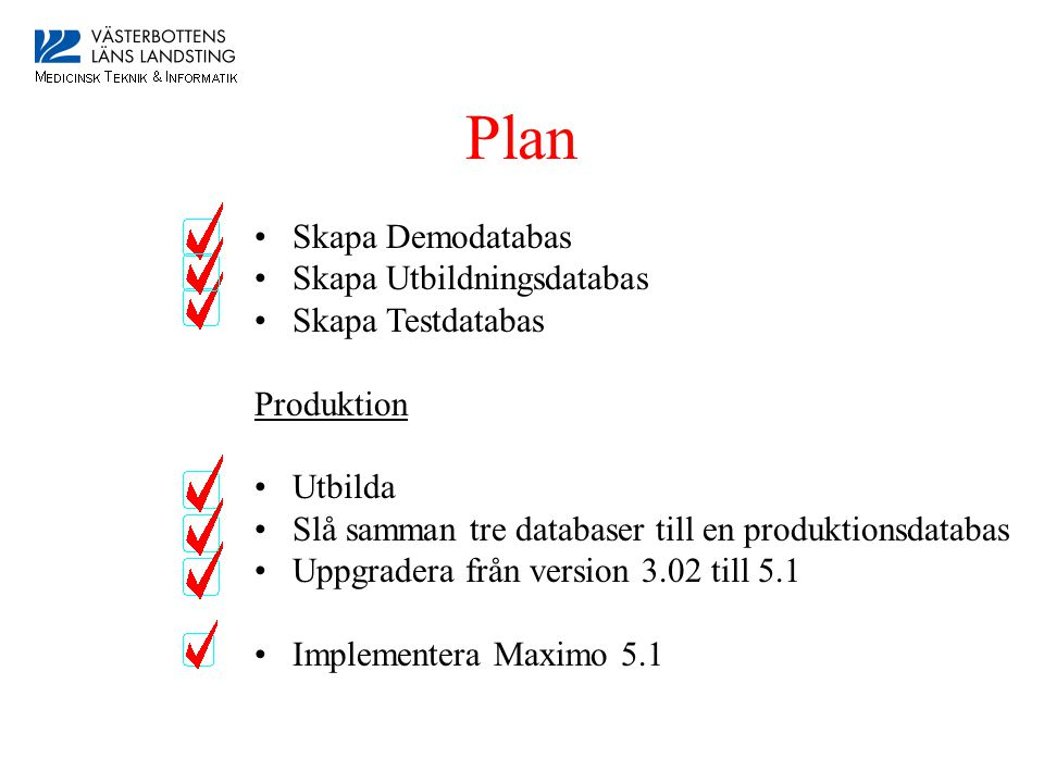 Plan Skapa Demodatabas Skapa Utbildningsdatabas Skapa Testdatabas