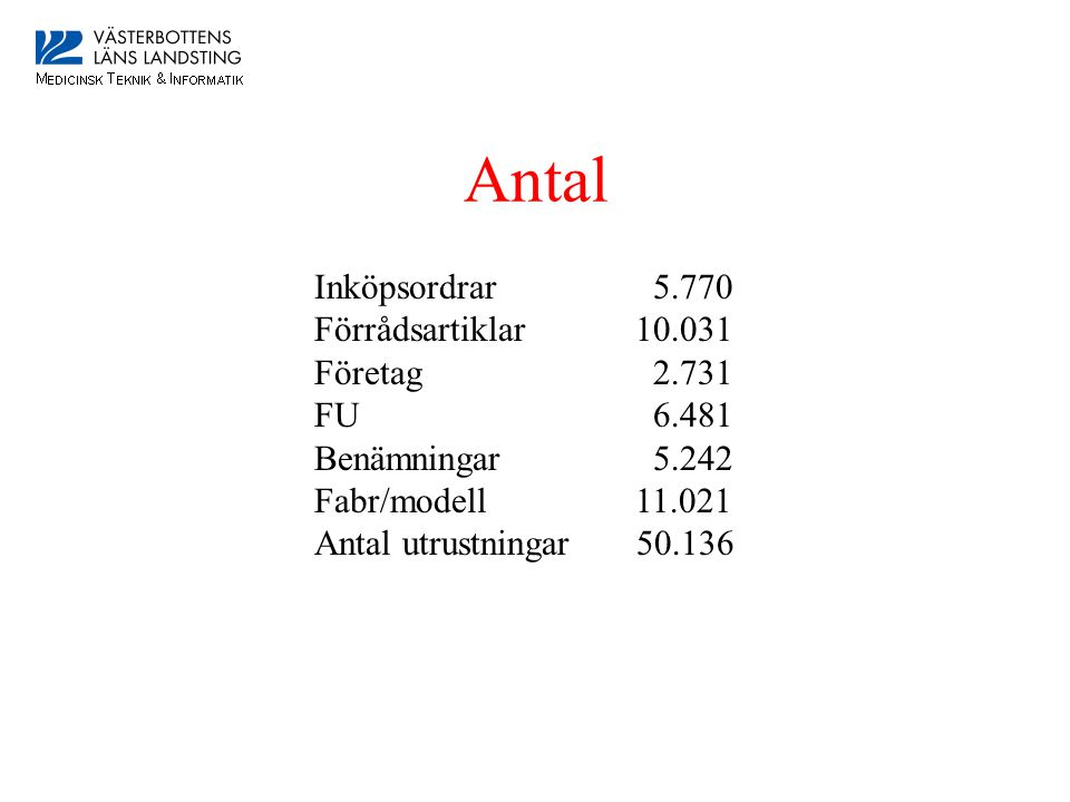 Antal Inköpsordrar 5.770 Förrådsartiklar 10.031 Företag 2.731 FU 6.481