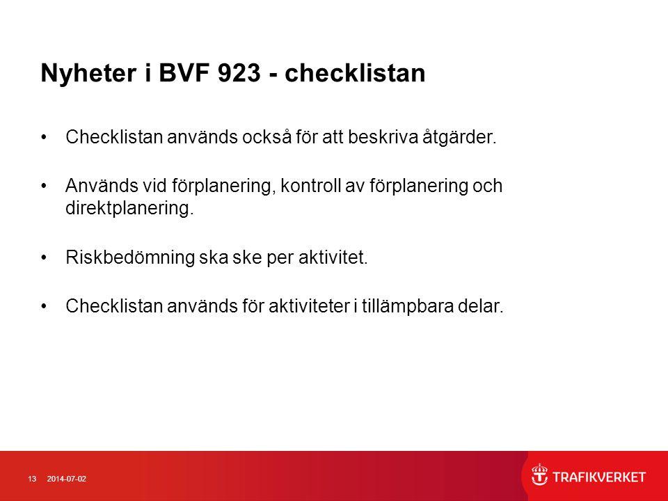 Nyheter i BVF 923 - checklistan