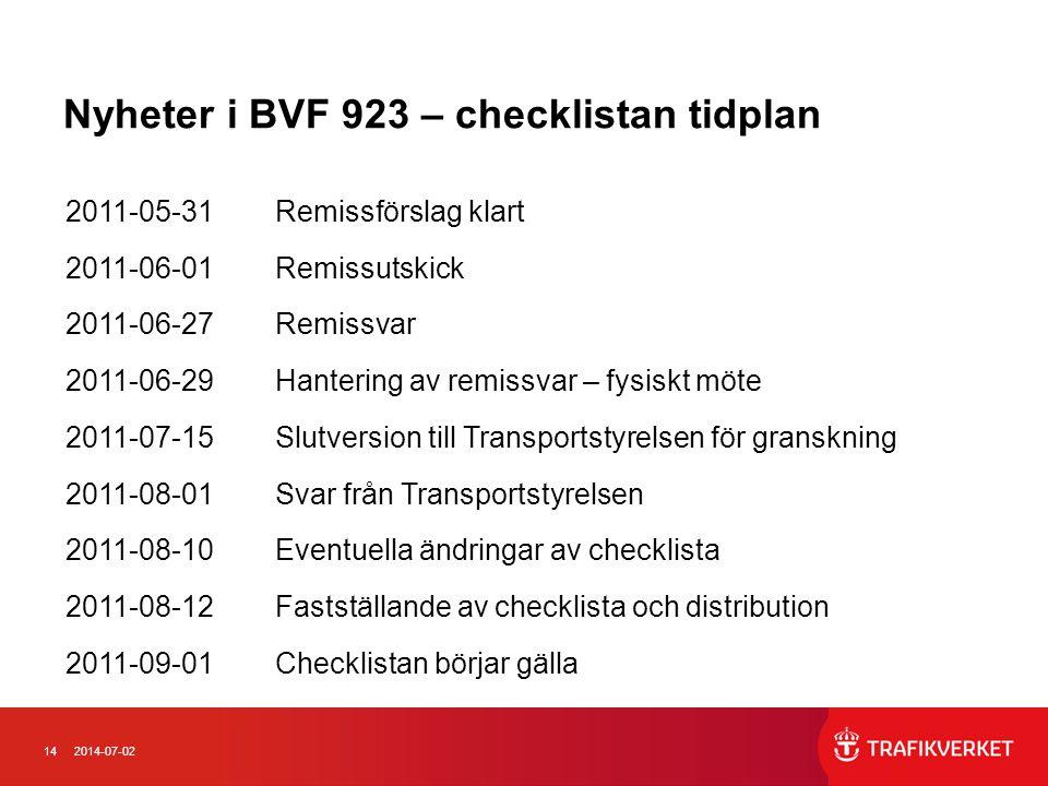 Nyheter i BVF 923 – checklistan tidplan