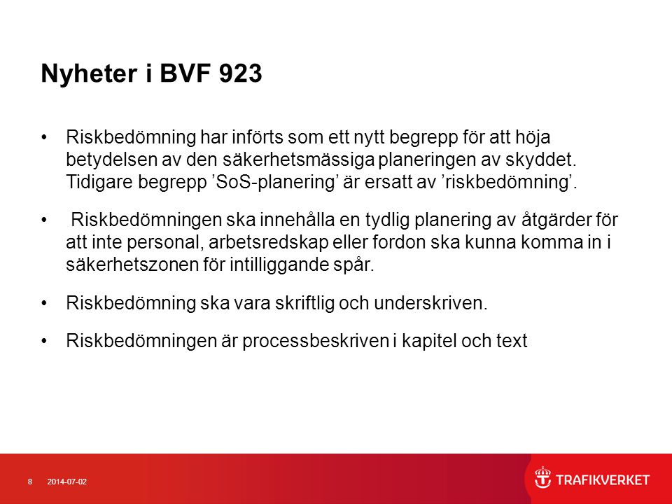 Nyheter i BVF 923