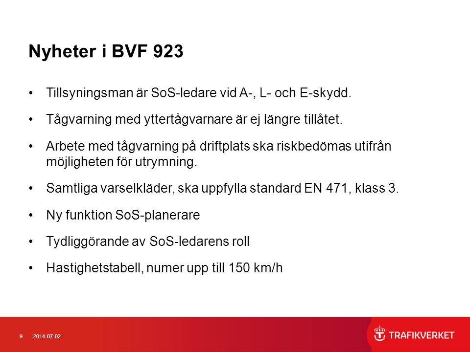 Nyheter i BVF 923 Tillsyningsman är SoS-ledare vid A-, L- och E-skydd.