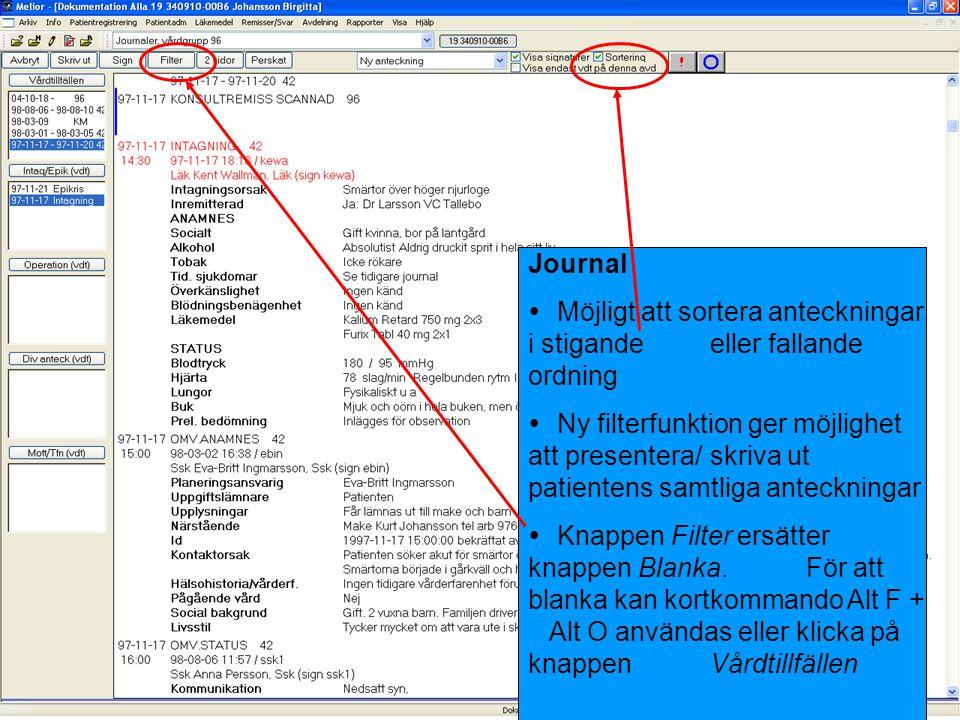Journal Möjligt att sortera anteckningar i stigande eller fallande ordning.