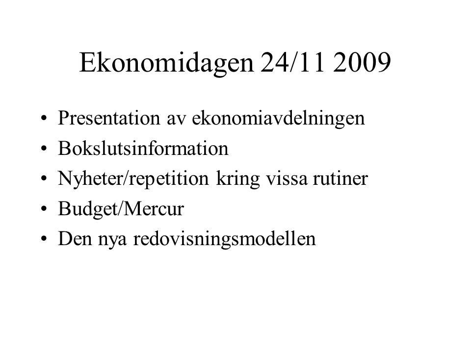 Ekonomidagen 24/11 2009 Presentation av ekonomiavdelningen