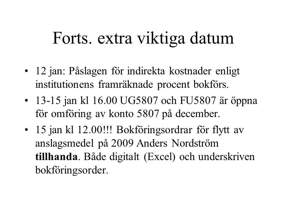 Forts. extra viktiga datum