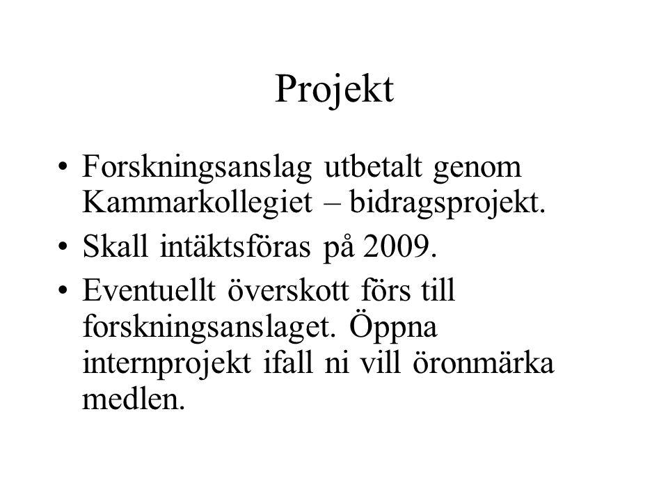 Projekt Forskningsanslag utbetalt genom Kammarkollegiet – bidragsprojekt. Skall intäktsföras på 2009.
