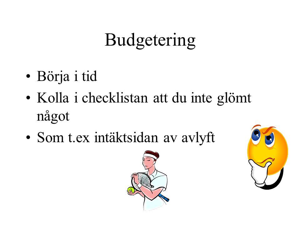 Budgetering Börja i tid Kolla i checklistan att du inte glömt något