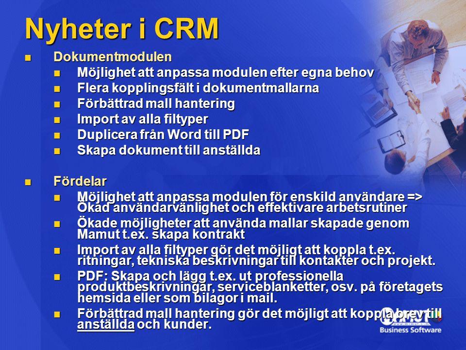 Nyheter i CRM Dokumentmodulen