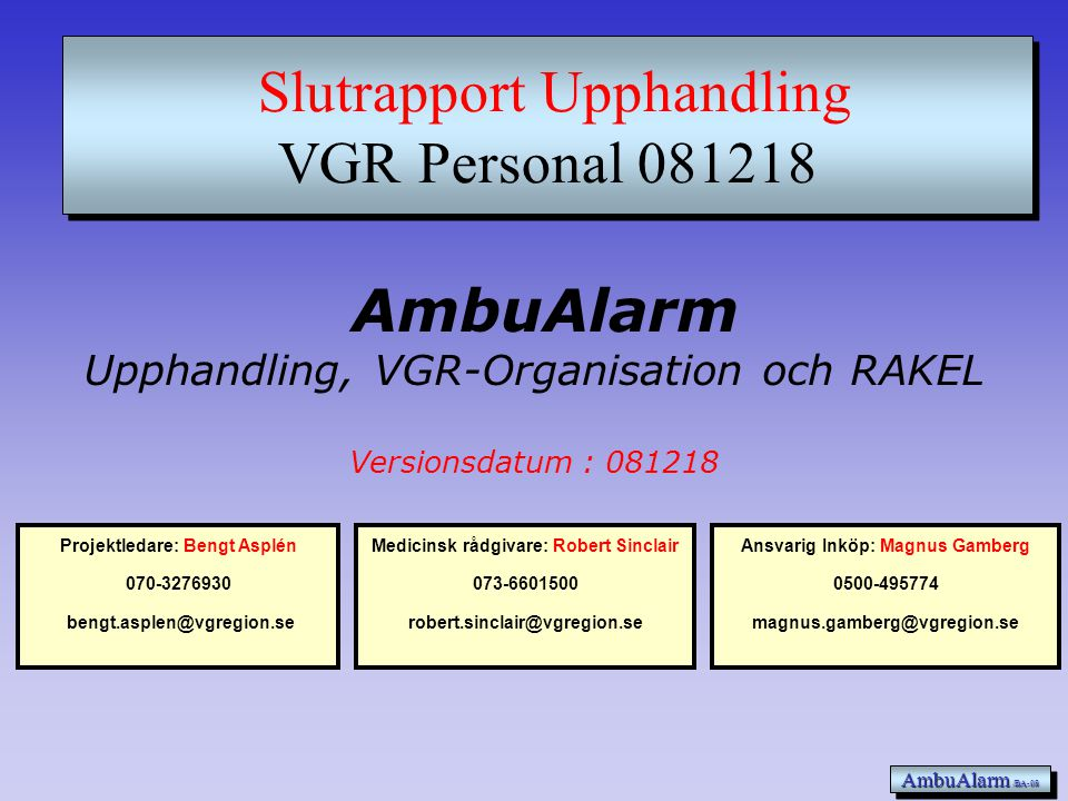 Slutrapport Upphandling VGR Personal 081218