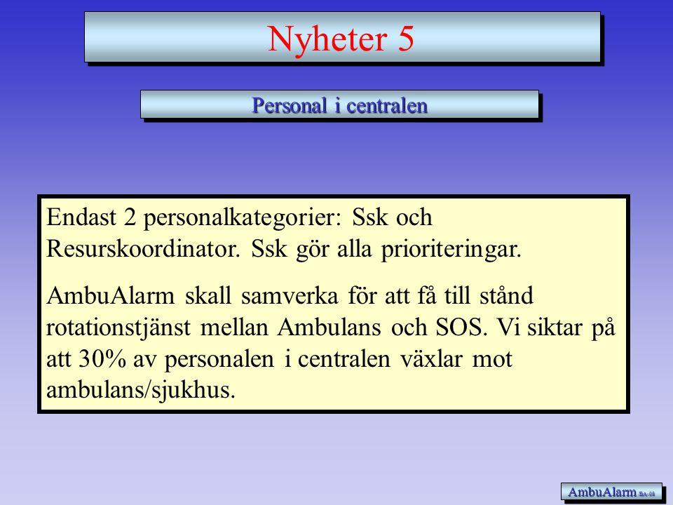Nyheter 5 Personal i centralen. Endast 2 personalkategorier: Ssk och Resurskoordinator. Ssk gör alla prioriteringar.
