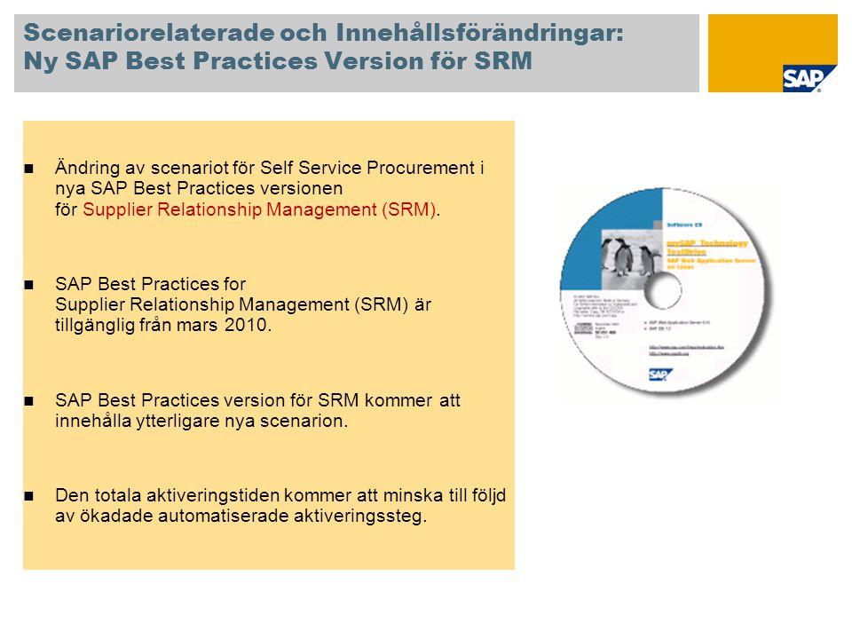Scenariorelaterade och Innehållsförändringar: Ny SAP Best Practices Version för SRM