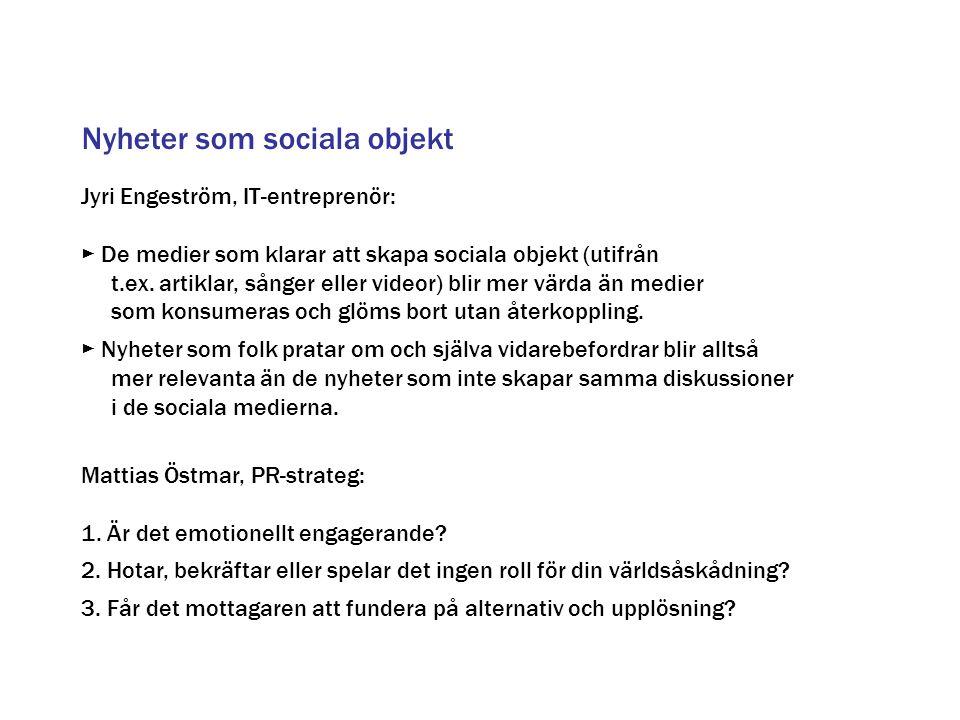 Nyheter som sociala objekt