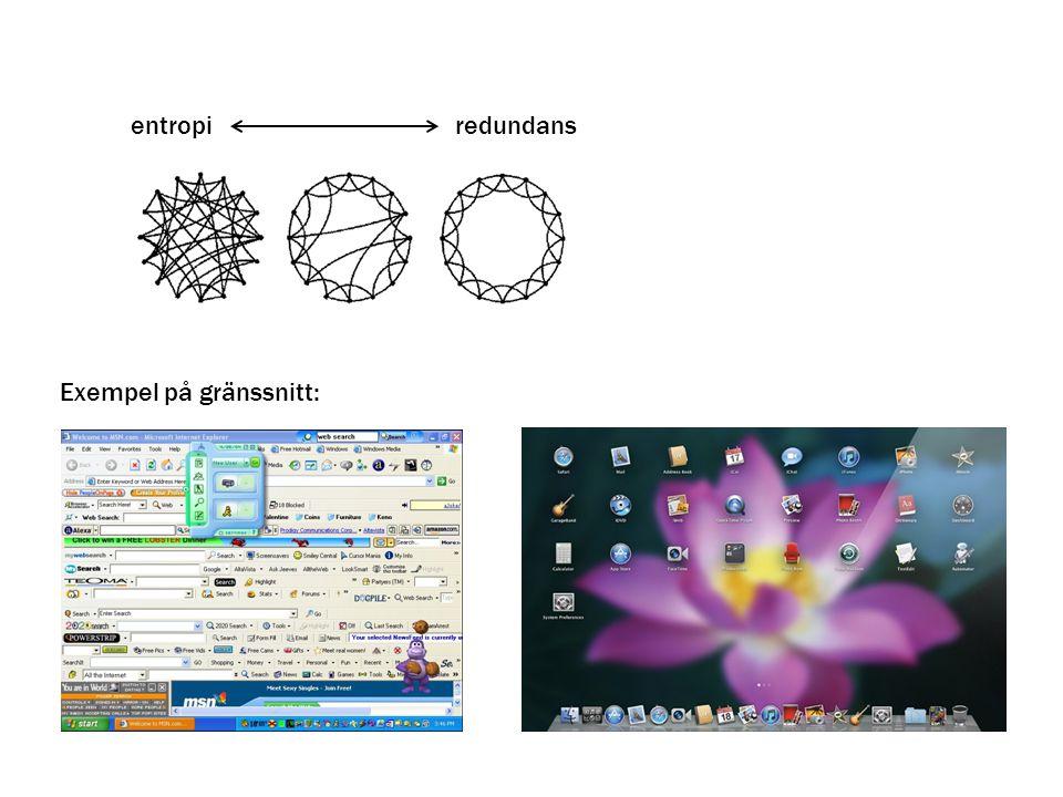 entropi redundans Exempel på gränssnitt: