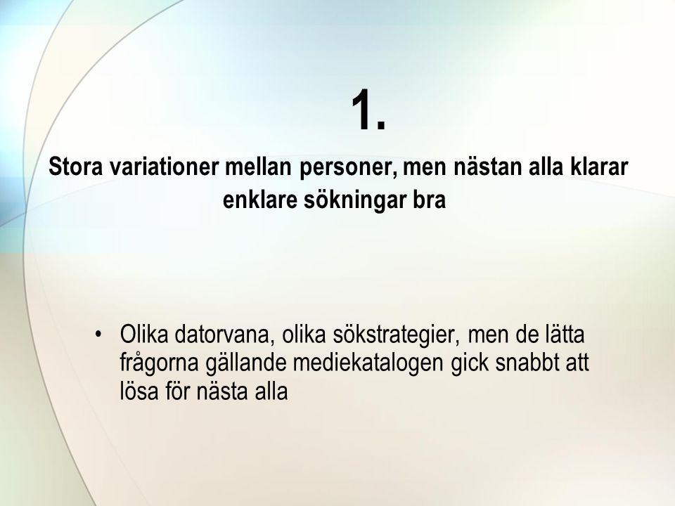 1. Stora variationer mellan personer, men nästan alla klarar enklare sökningar bra