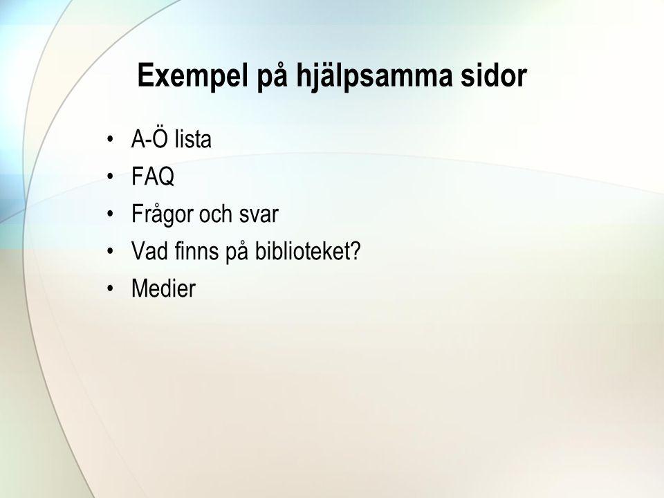 Exempel på hjälpsamma sidor
