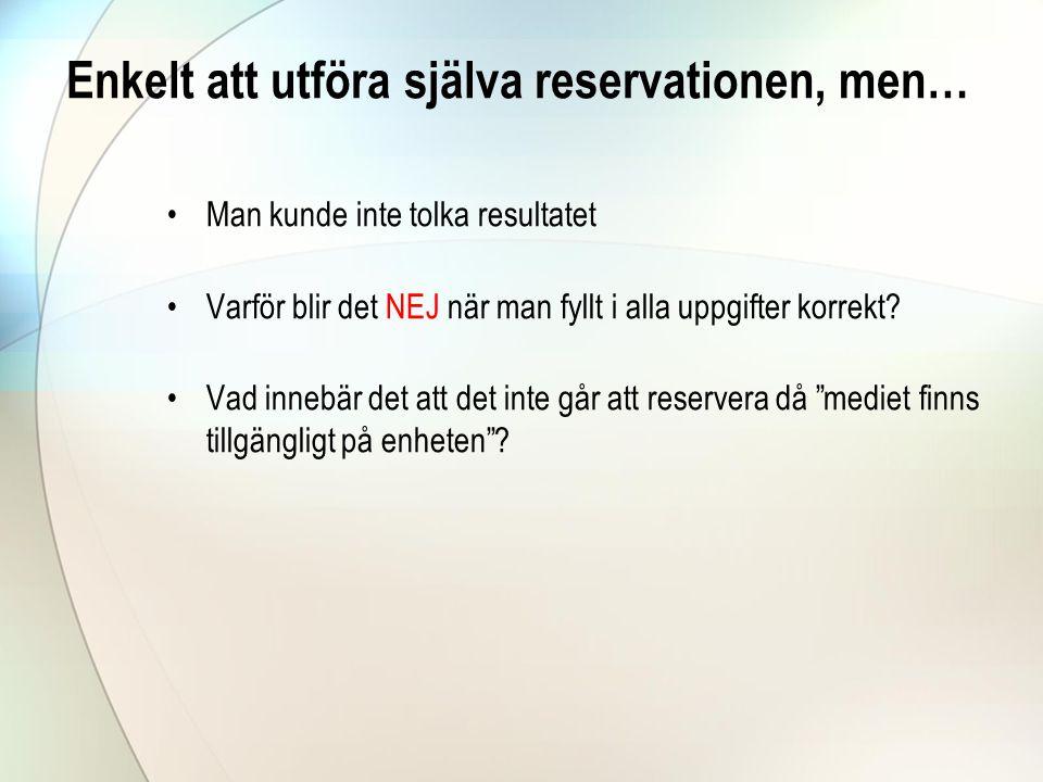 Enkelt att utföra själva reservationen, men…