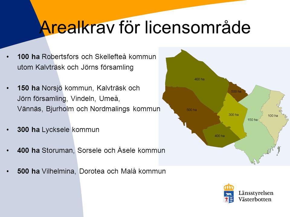 Arealkrav för licensområde