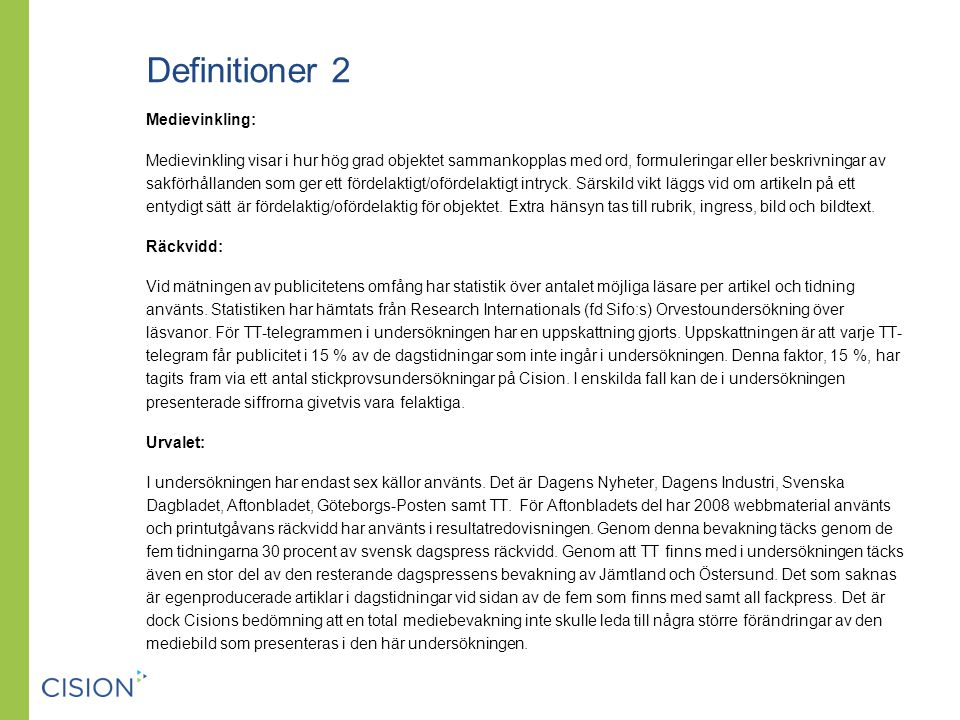 Definitioner 2 Medievinkling: