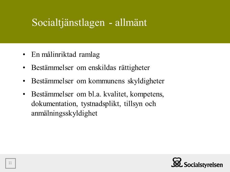 Socialtjänstlagen - allmänt