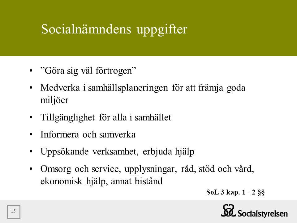 Socialnämndens uppgifter