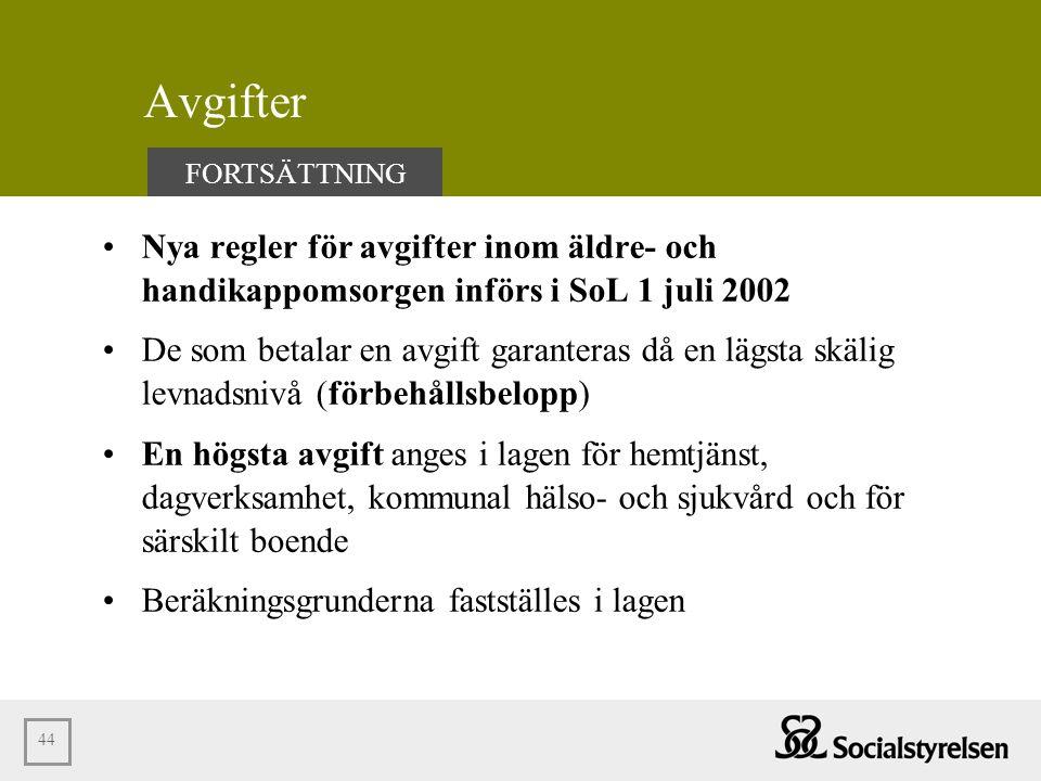Avgifter FORTSÄTTNING. Nya regler för avgifter inom äldre- och handikappomsorgen införs i SoL 1 juli 2002.