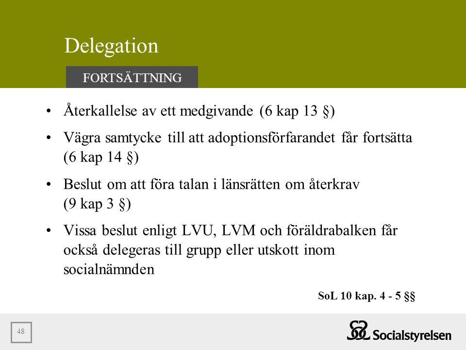 Delegation Återkallelse av ett medgivande (6 kap 13 §)