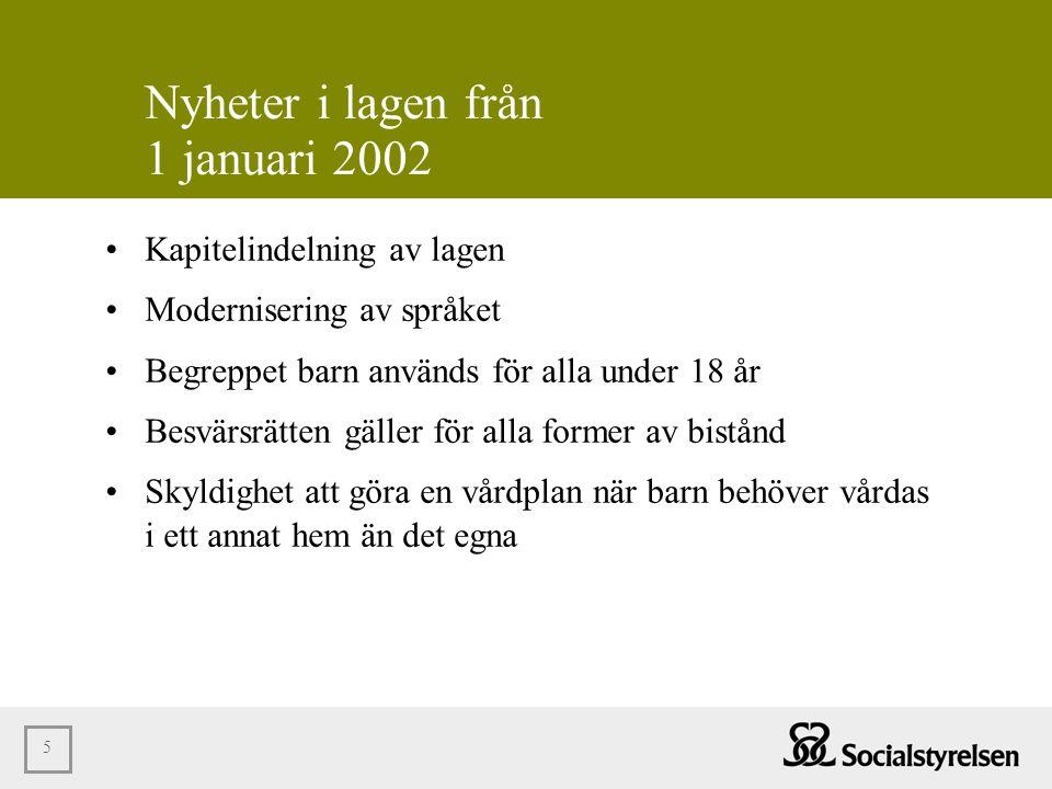 Nyheter i lagen från 1 januari 2002