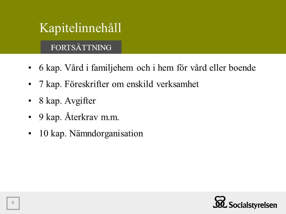 Kapitelinnehåll FORTSÄTTNING. 6 kap. Vård i familjehem och i hem för vård eller boende. 7 kap. Föreskrifter om enskild verksamhet.