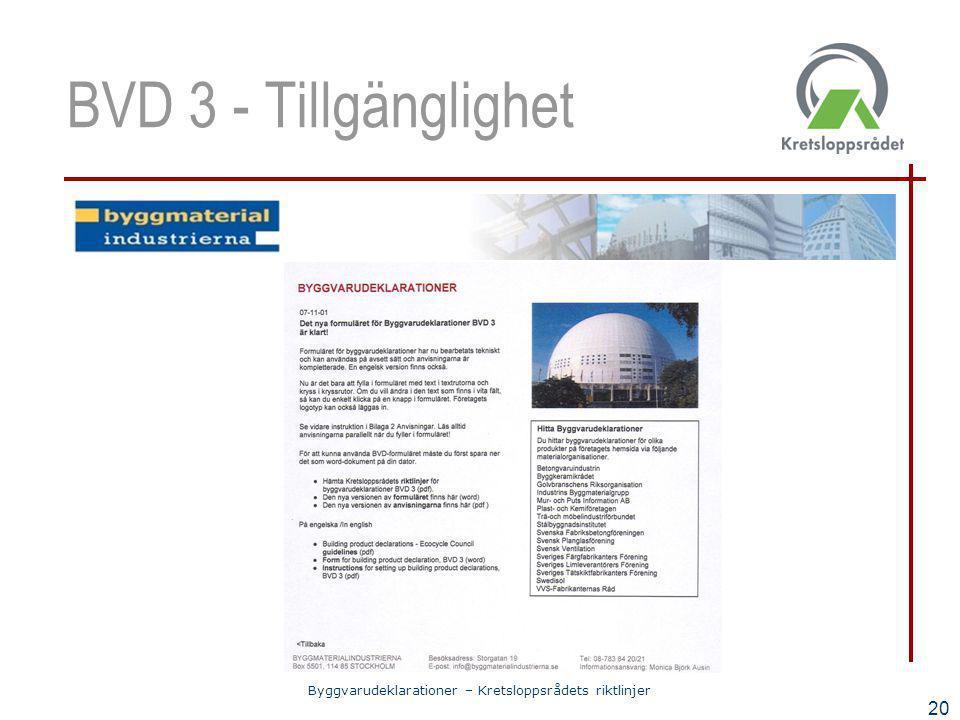BVD 3 - Tillgänglighet