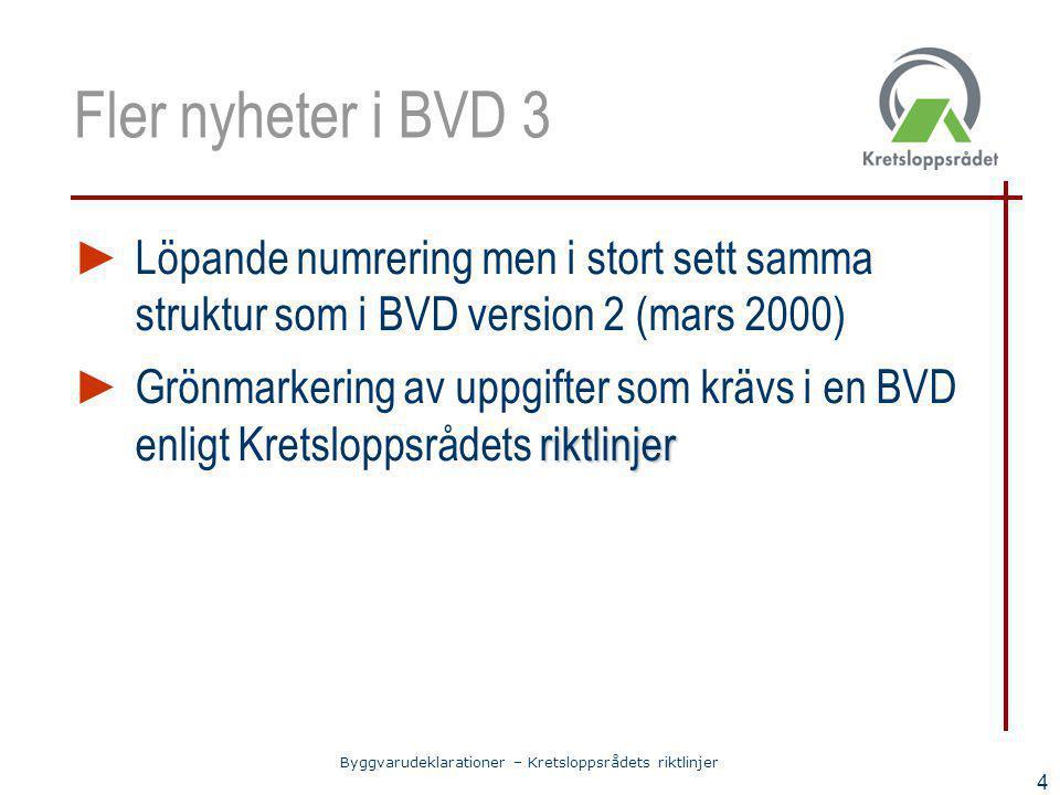 Fler nyheter i BVD 3 Löpande numrering men i stort sett samma struktur som i BVD version 2 (mars 2000)