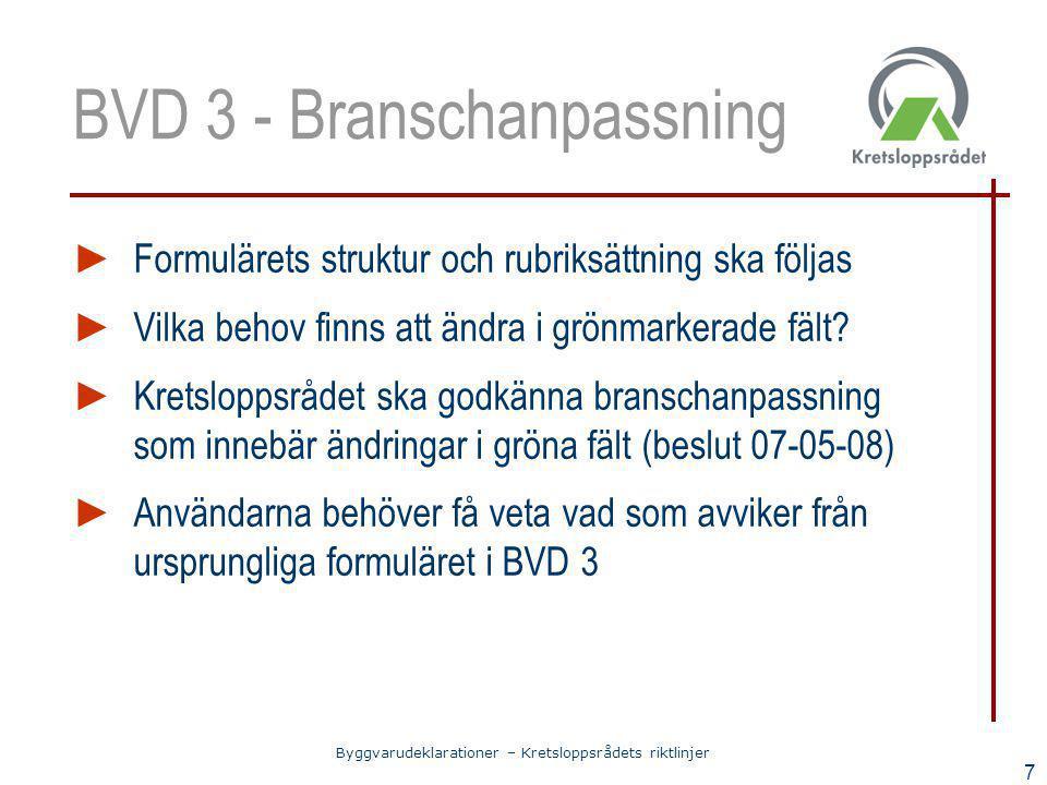 BVD 3 - Branschanpassning