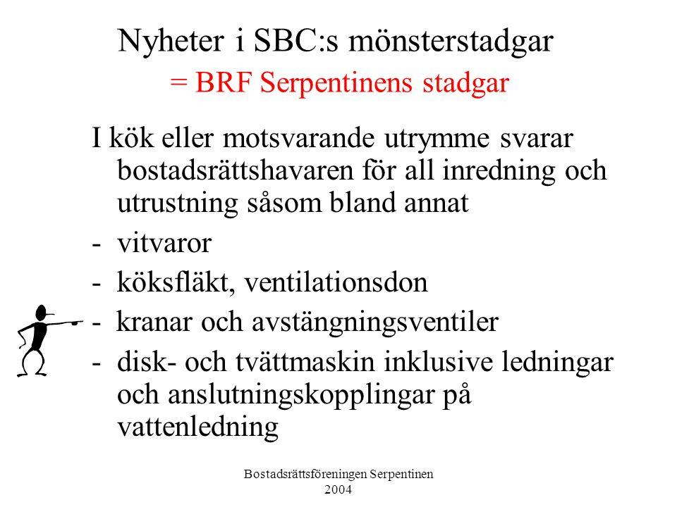 Nyheter i SBC:s mönsterstadgar = BRF Serpentinens stadgar