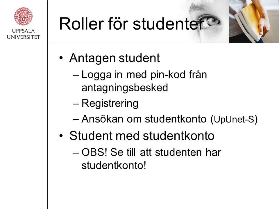 Roller för studenter Antagen student Student med studentkonto