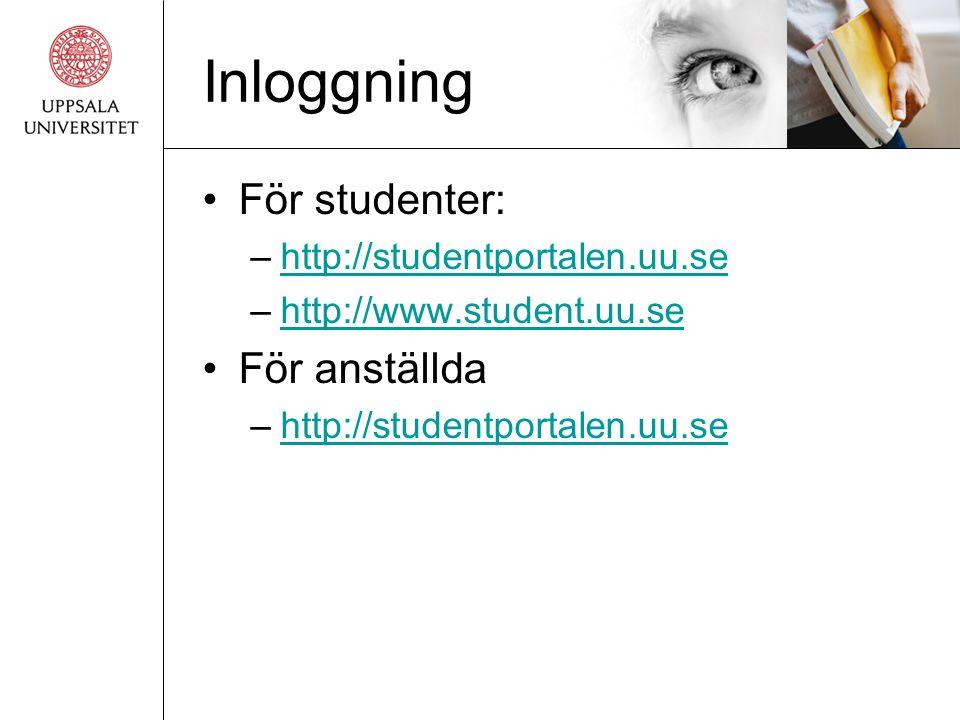 Inloggning För studenter: För anställda http://studentportalen.uu.se