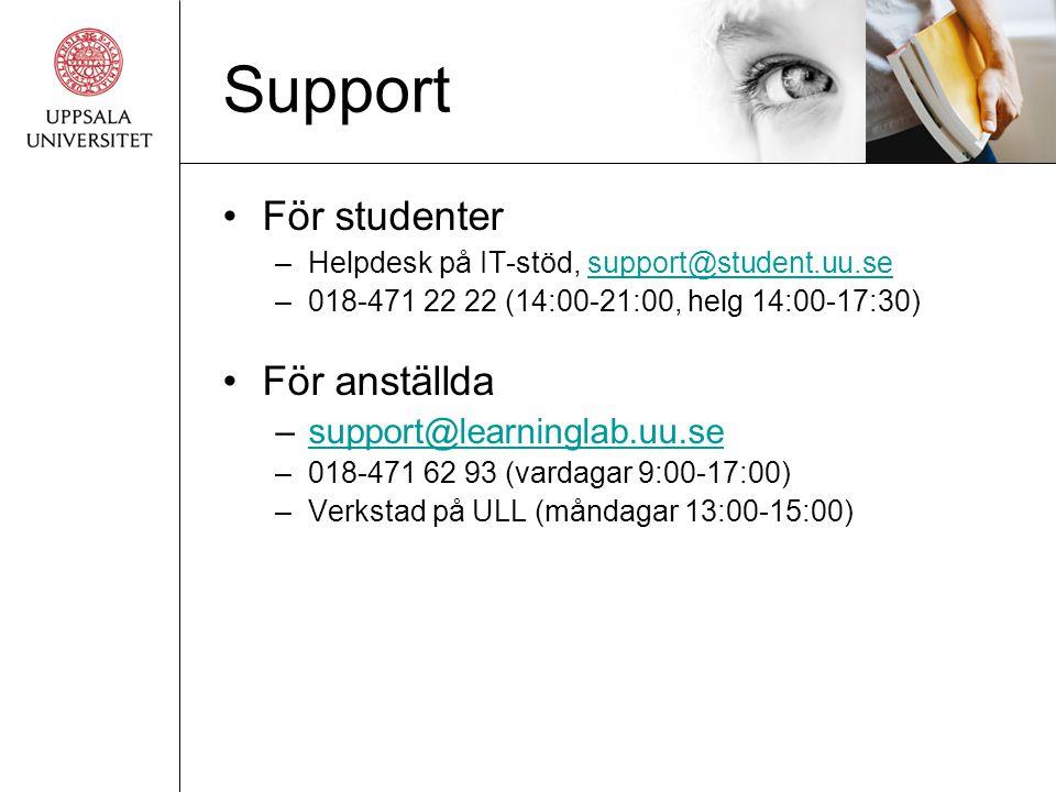 Support För studenter För anställda support@learninglab.uu.se