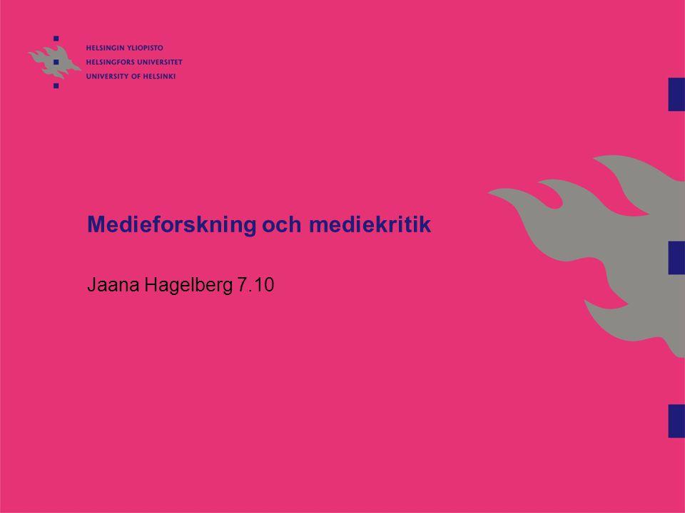 Medieforskning och mediekritik