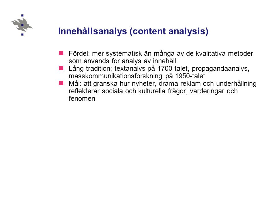 Innehållsanalys (content analysis)