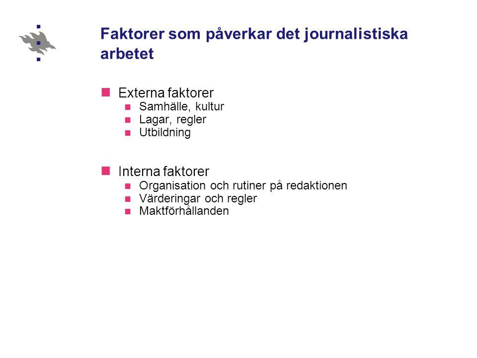 Faktorer som påverkar det journalistiska arbetet