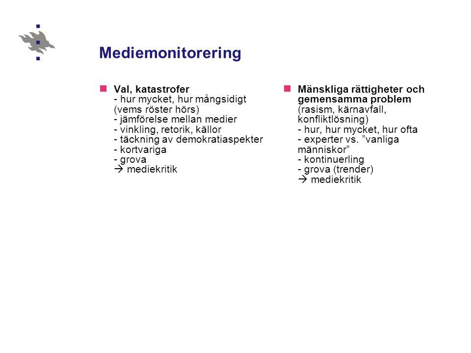 Mediemonitorering Val, katastrofer