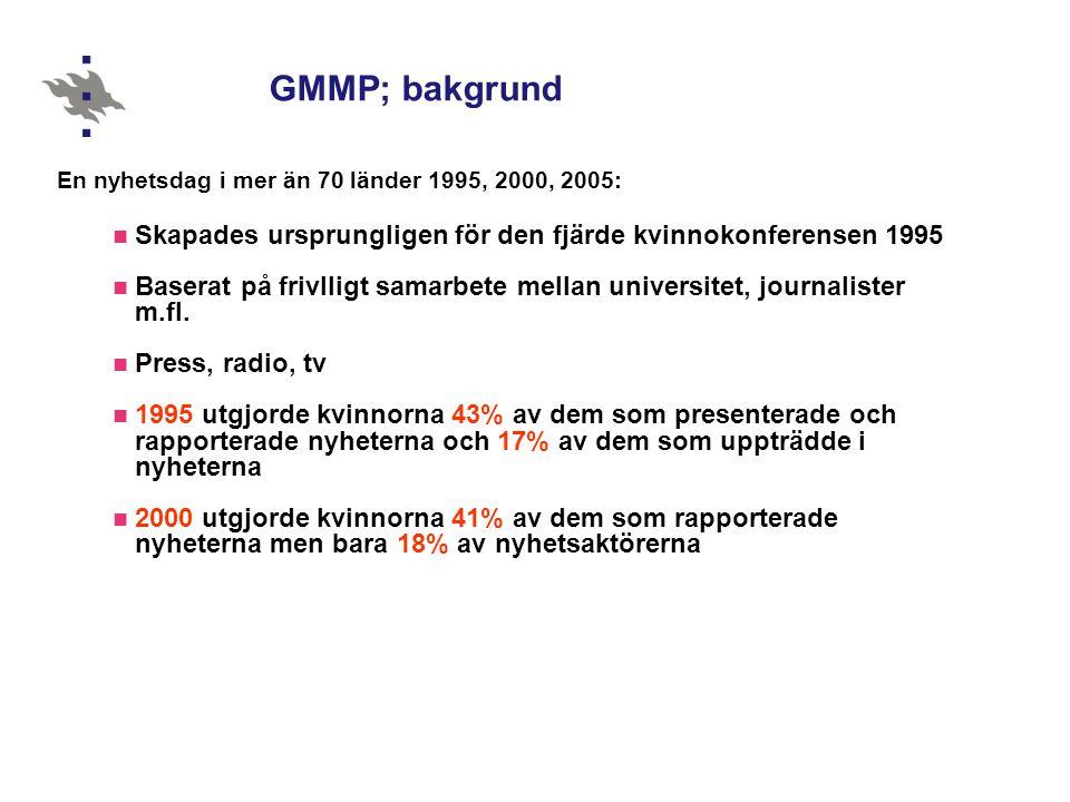 GMMP; bakgrund En nyhetsdag i mer än 70 länder 1995, 2000, 2005: Skapades ursprungligen för den fjärde kvinnokonferensen 1995.