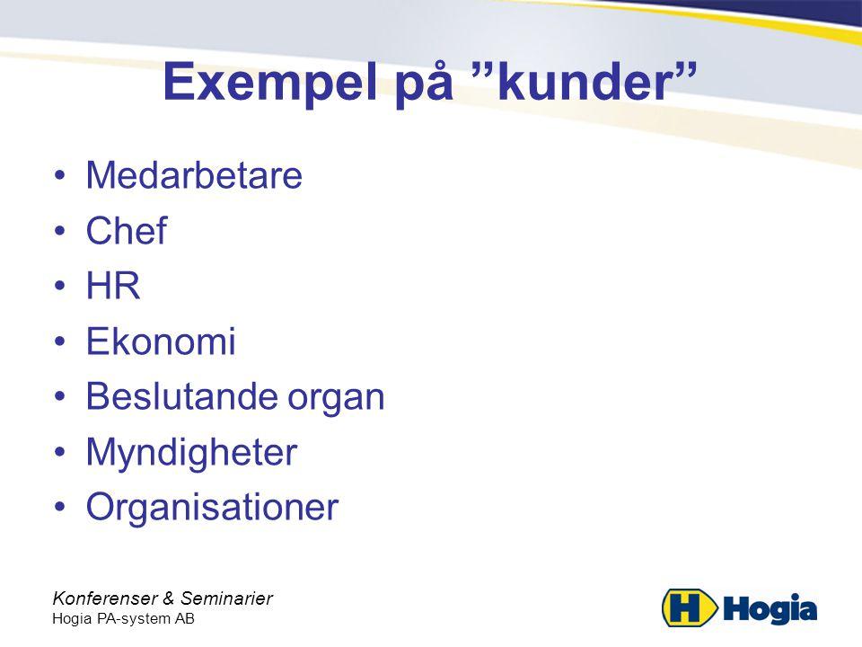 Exempel på kunder Medarbetare Chef HR Ekonomi Beslutande organ