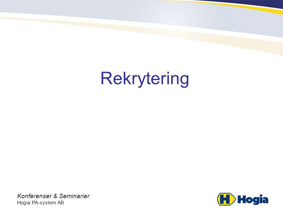 Rekrytering Konferenser & Seminarier Hogia PA-system AB