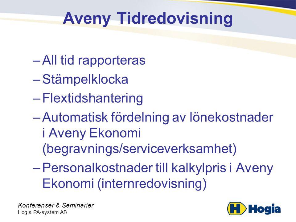 Aveny Tidredovisning All tid rapporteras Stämpelklocka