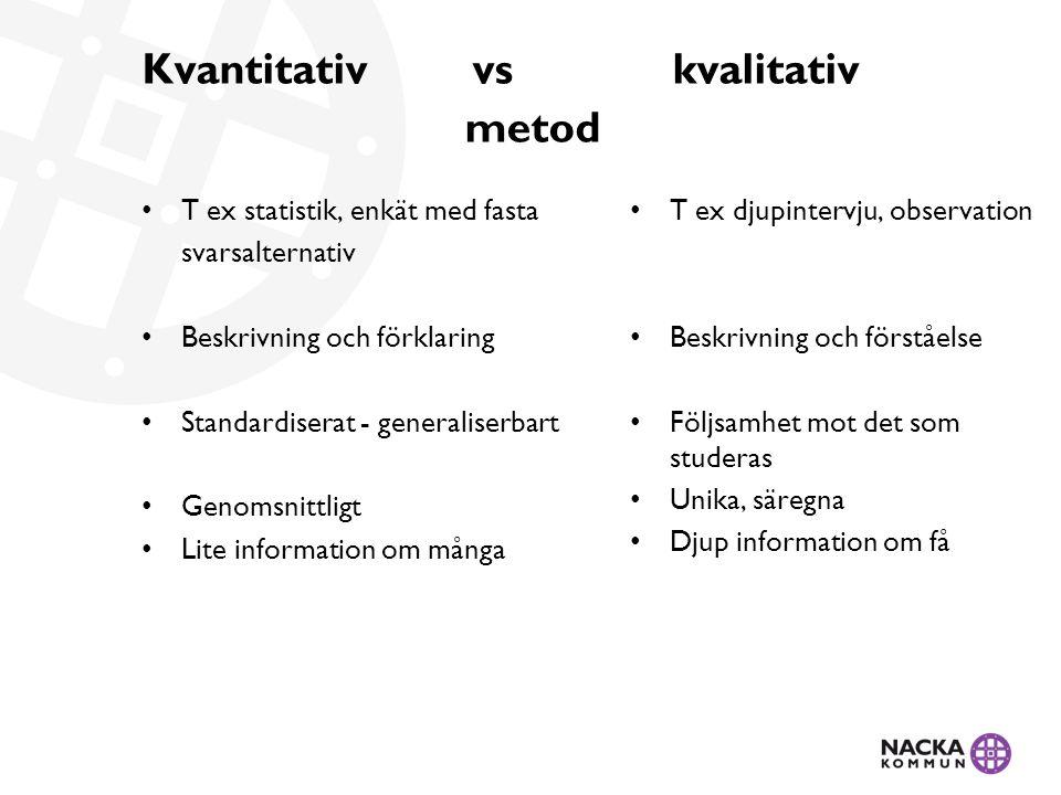 Kvantitativ vs kvalitativ metod